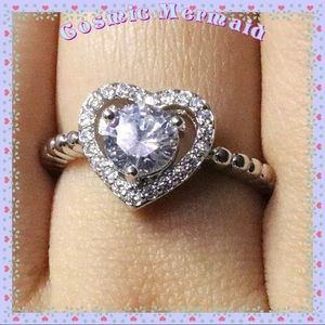 Jewelry - 🆕💍Gorgeous Heart Shape Design 14k WGP CZ Ring💍